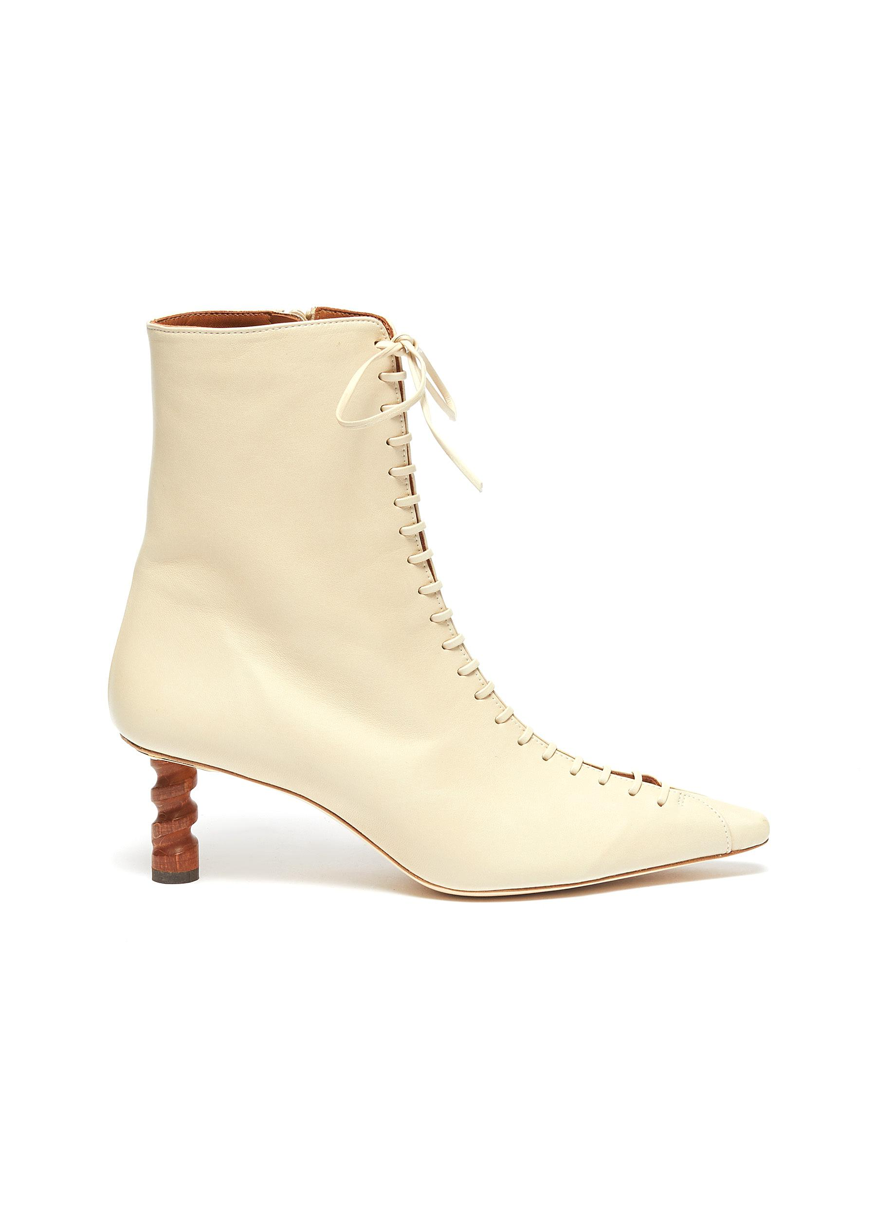 Simone wooden heel lace-up leather ankle boots by Rejina Pyo