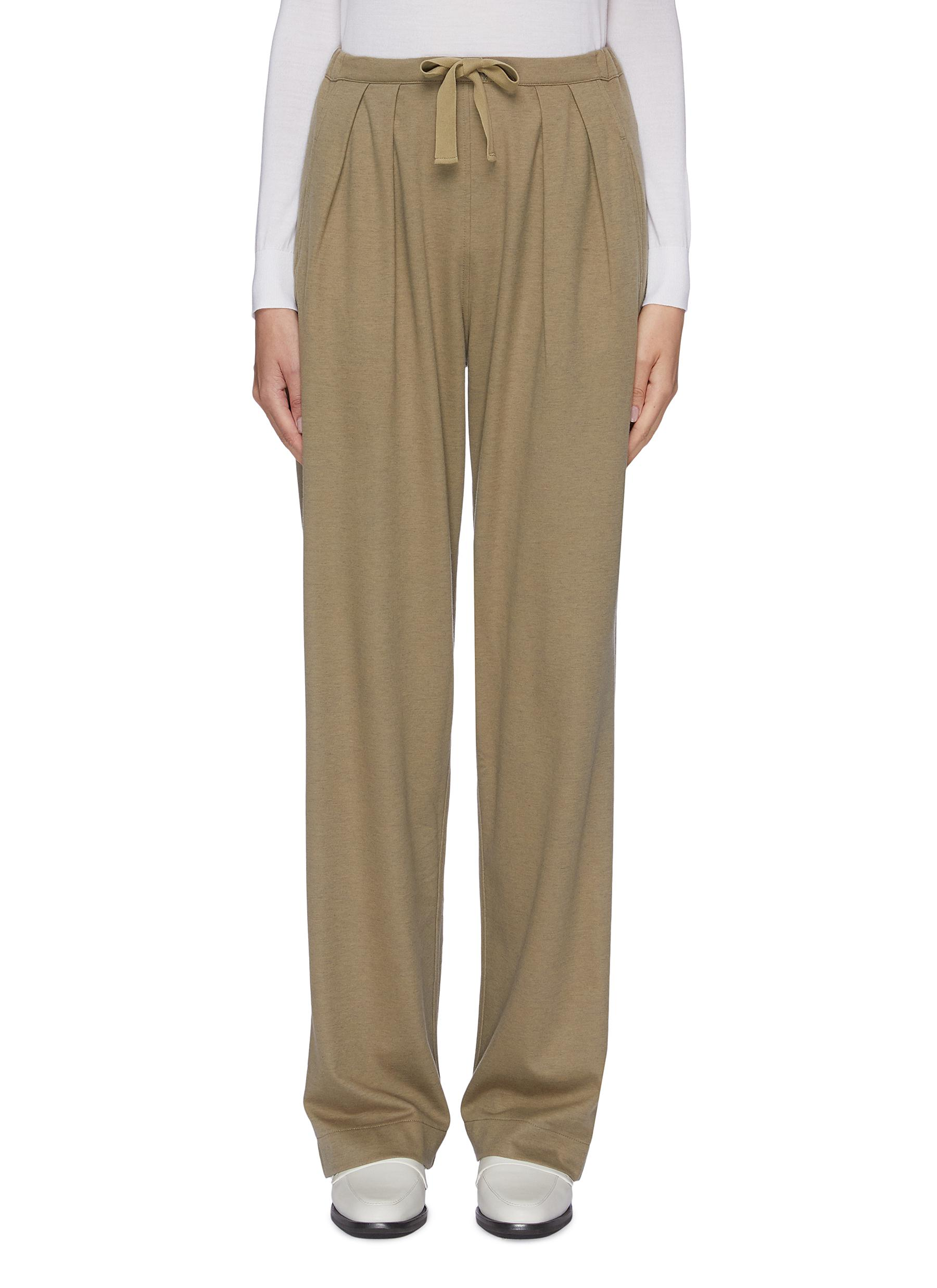 Pleated front cotton-wool drawstring pants by Lemaire
