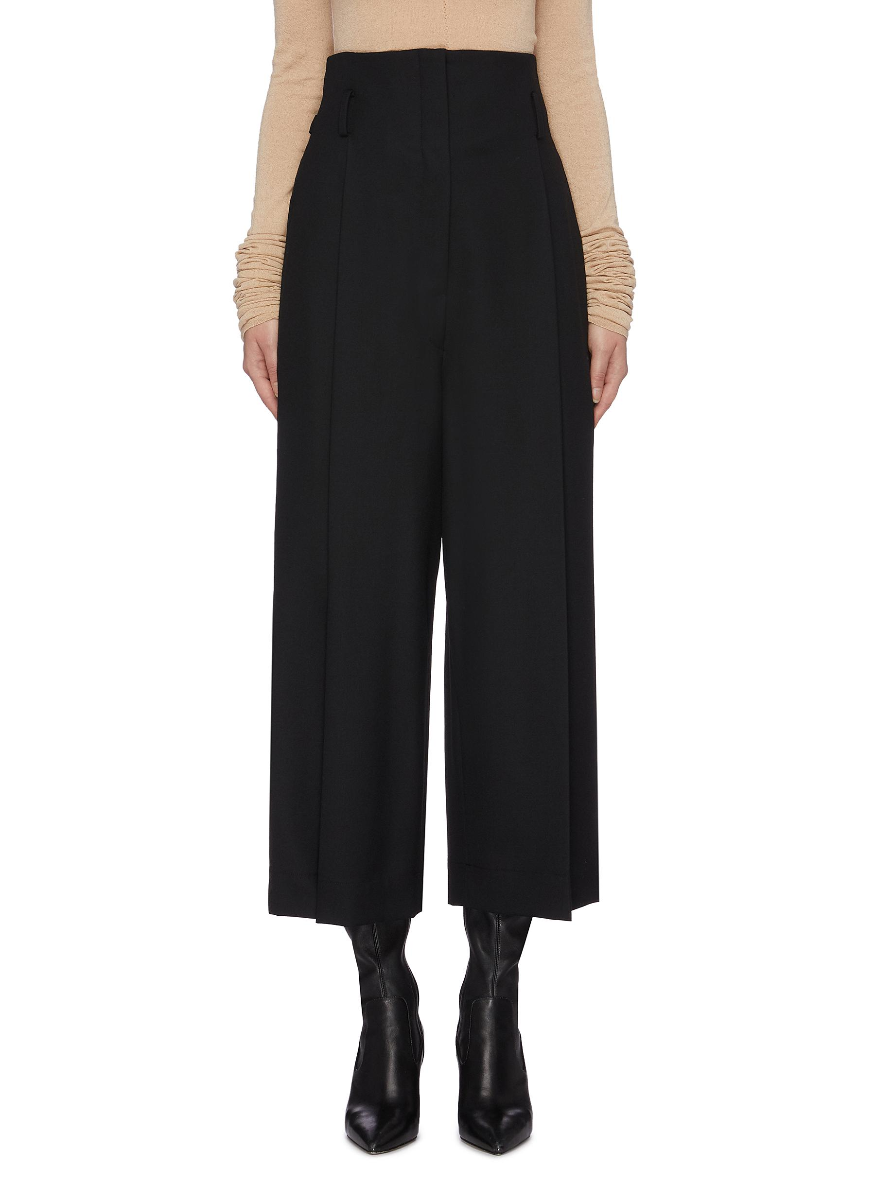 Waist tab pintuck wool wide leg suiting pants by Lemaire