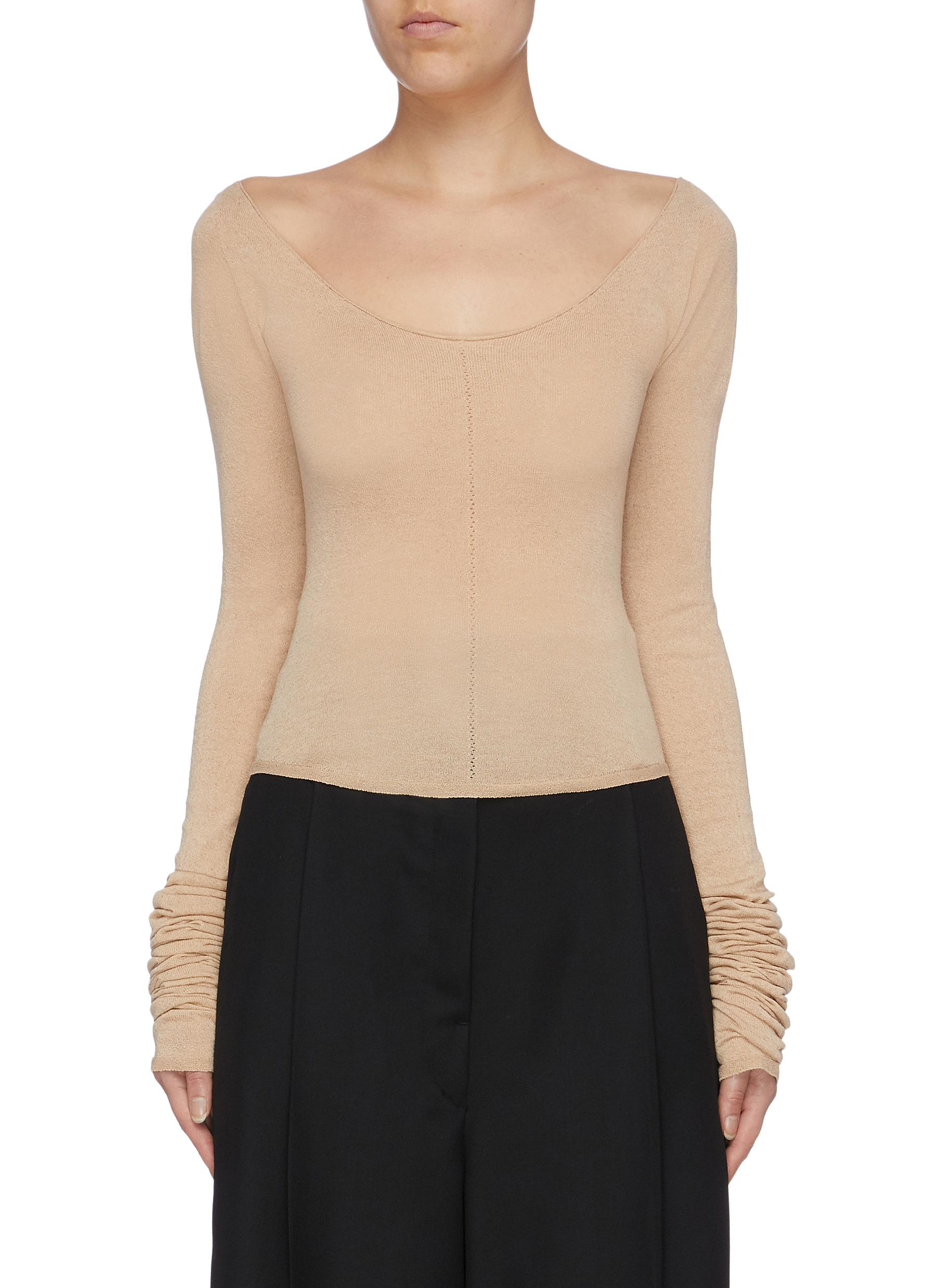 Wide crew neck knit top by Lemaire