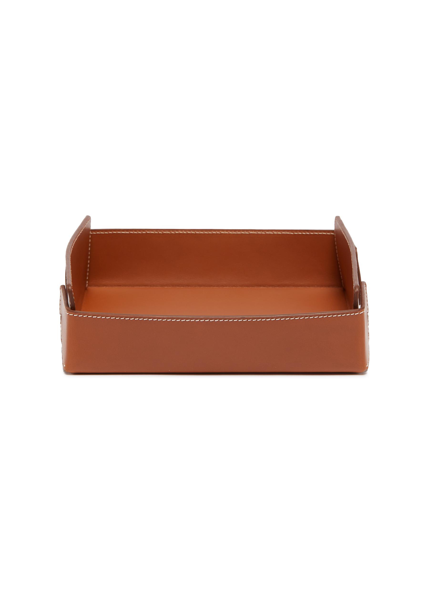 Large leather desk tray