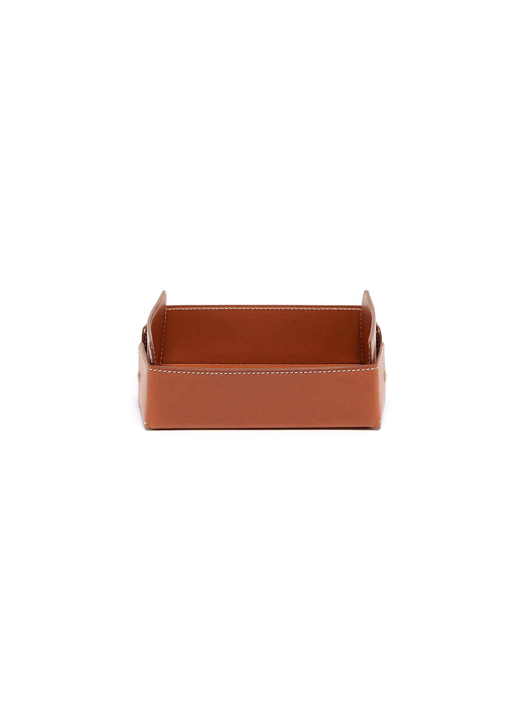 Small leather desk tray