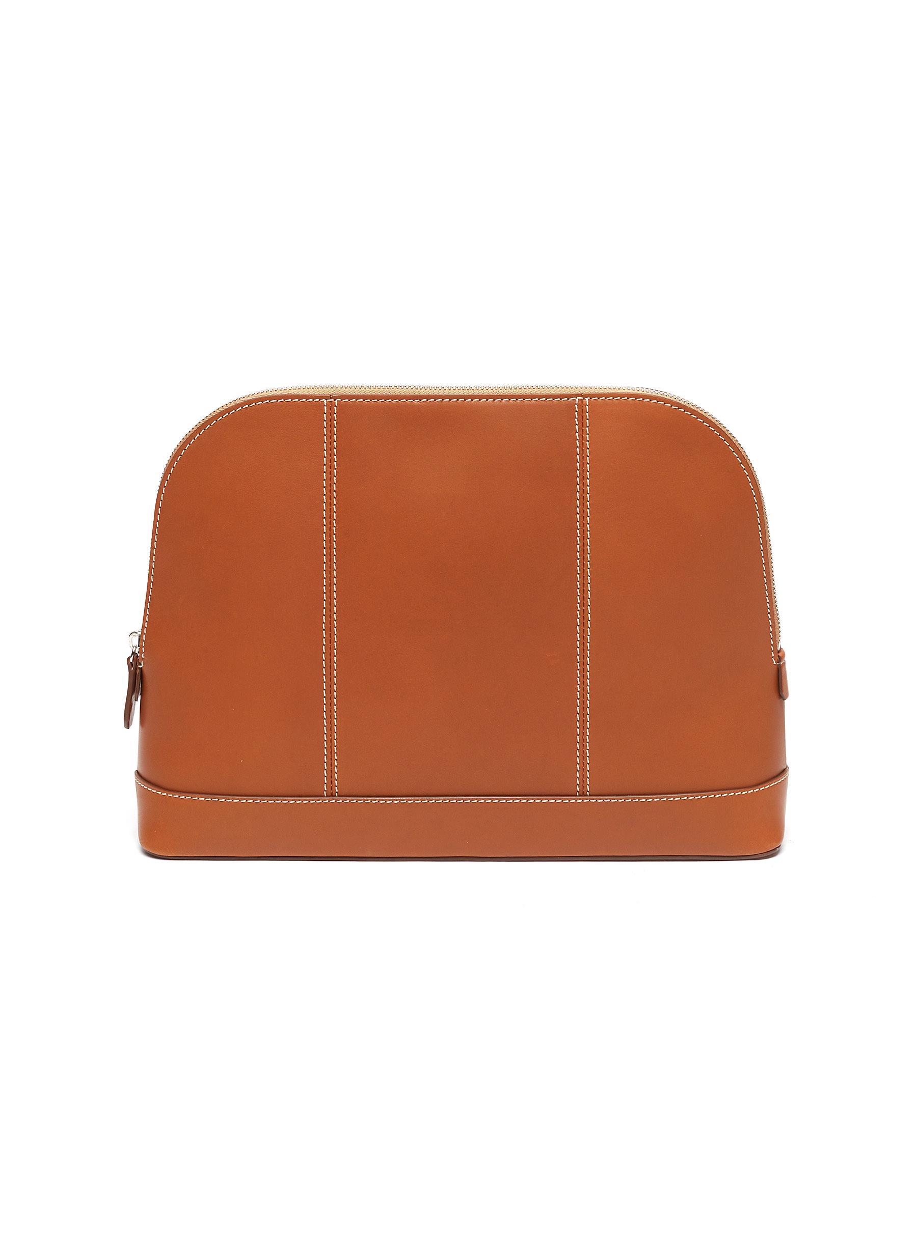 Large leather wash bag