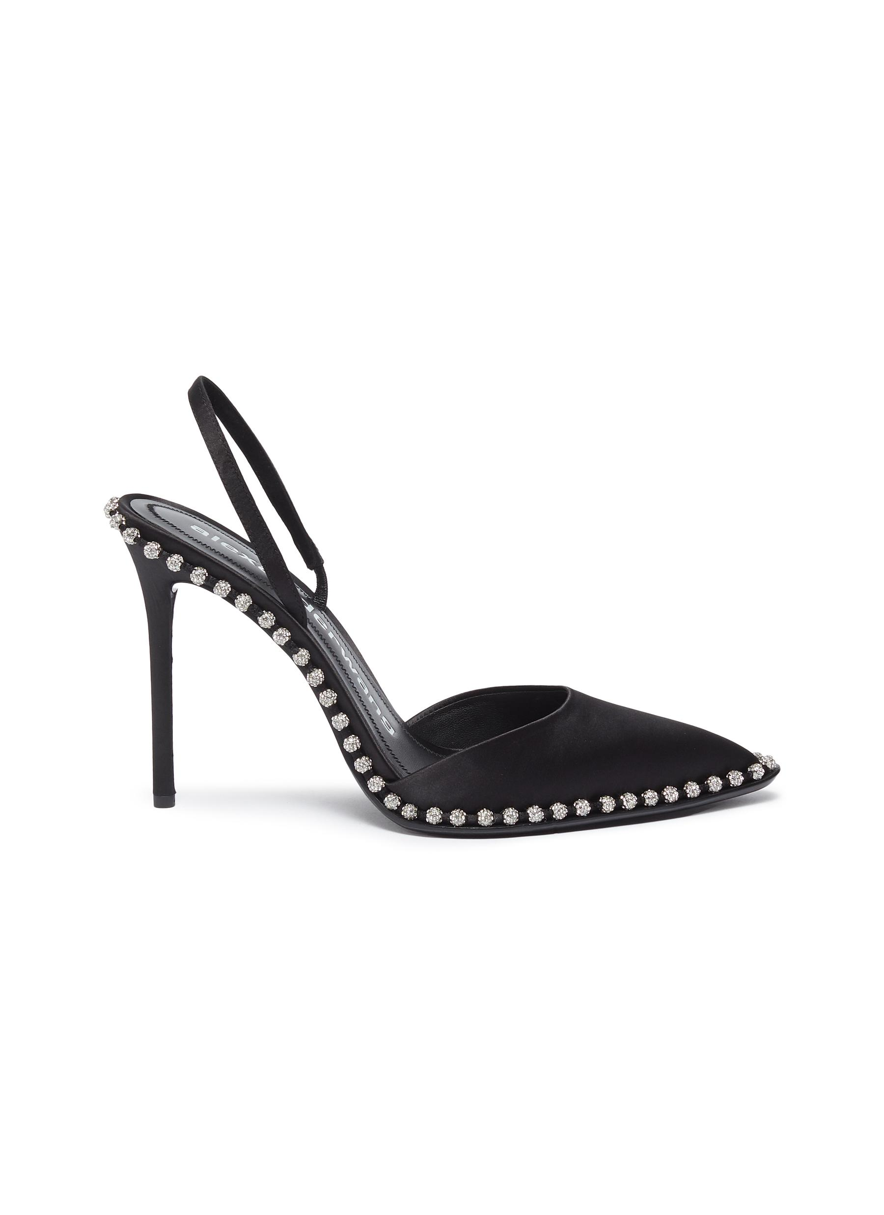 Rina glass crystal ball chain satin slingback pumps by Alexanderwang
