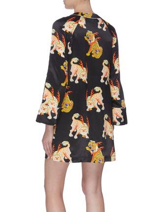 Back View - Click To Enlarge - KIRIN BY PEGGY GOU - 'Haetae' print satin pyjama shirt dress