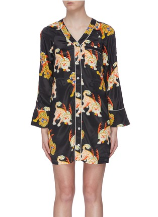 Main View - Click To Enlarge - KIRIN BY PEGGY GOU - 'Haetae' print satin pyjama shirt dress