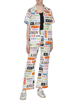 Figure View - Click To Enlarge - KIRIN BY PEGGY GOU - 'Typo' mix logo print drill wide leg pants