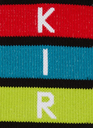Detail View - Click To Enlarge - KIRIN BY PEGGY GOU - 'Rainbow' logo stripe intarsia knee high socks