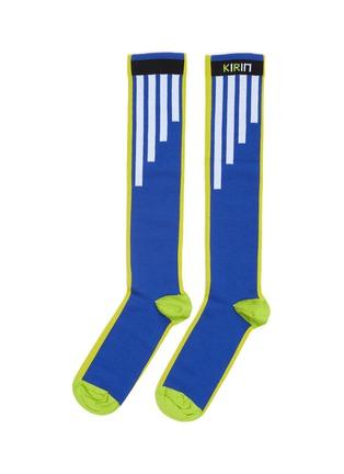 Main View - Click To Enlarge - KIRIN BY PEGGY GOU - 'Big Pyramid' logo stripe intarsia knee high socks