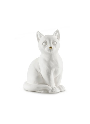 Main View - Click To Enlarge - AVERY - Ceramic Sitting Cat sculpture – White Gold