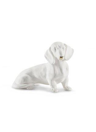 Main View - Click To Enlarge - AVERY - Ceramic Dachshund small sculpture – White Gold