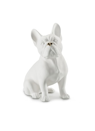 Main View - Click To Enlarge - AVERY - Ceramic Bulldog large sculpture – White Gold