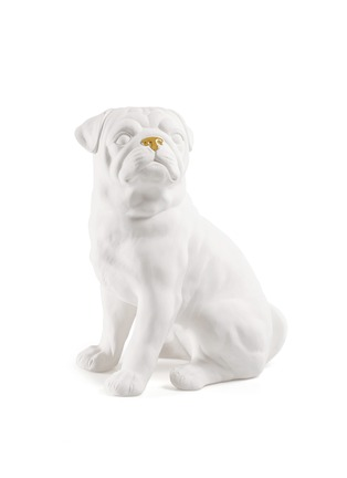 Main View - Click To Enlarge - AVERY - Ceramic Pug Dog large sculpture – White Gold