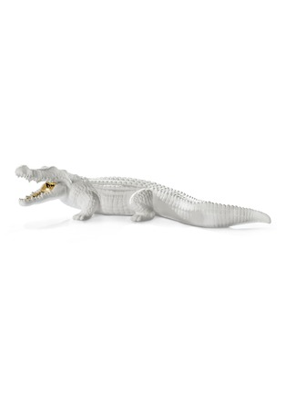 Main View - Click To Enlarge - AVERY - Ceramic Crocodile sculpture – White Gold