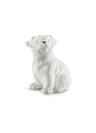 Main View - Click To Enlarge - AVERY - Ceramic Pug Dog small sculpture – White Gold