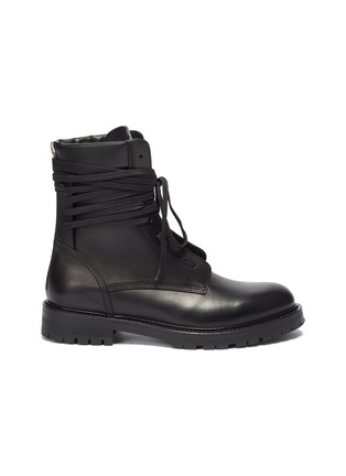 Main View - Click To Enlarge - AMIRI - Wraparound tie leather combat boots