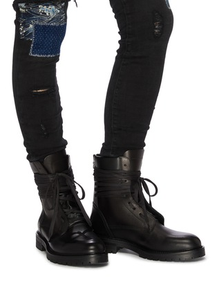 Figure View - Click To Enlarge - AMIRI - Wraparound tie leather combat boots