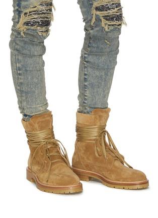 Figure View - Click To Enlarge - AMIRI - Wraparound tie suede combat boots