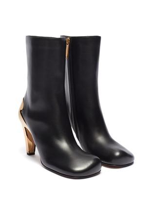 Detail View - Click To Enlarge - BOTTEGA VENETA - Metal heel leather boots