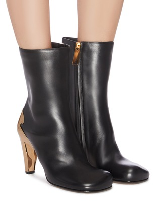 Figure View - Click To Enlarge - BOTTEGA VENETA - Metal heel leather boots