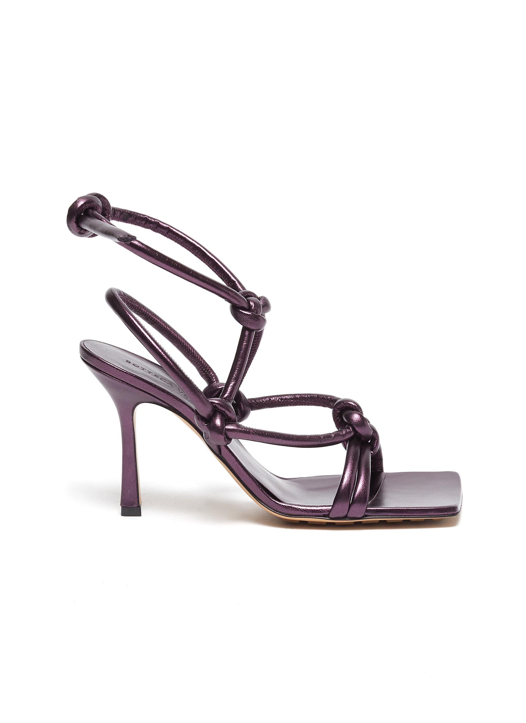 shop Bottega Veneta '90' square toe knotted leather strap sandals online
