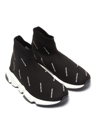 Figure View - Click To Enlarge - BALENCIAGA - 'Speed' logo print knit kids slip-on sneakers