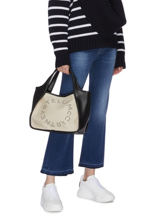 Figure View - Click To Enlarge - STELLA MCCARTNEY - Logo embroidered canvas tote bag