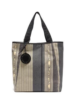 Main View - Click To Enlarge - STELLA MCCARTNEY - Logo stripe patchwork tote bag