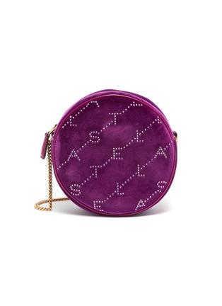 Main View - Click To Enlarge - STELLA MCCARTNEY - Monogram strass embellished velvet round crossbody bag