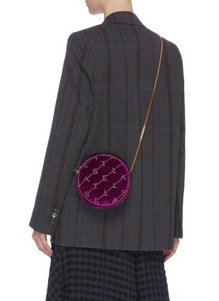 Figure View - Click To Enlarge - STELLA MCCARTNEY - Monogram strass embellished velvet round crossbody bag