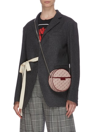 Figure View - Click To Enlarge - STELLA MCCARTNEY - Monogram embroidered mini round canvas crossbody bag