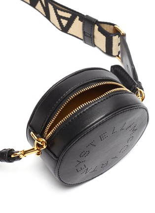Detail View - Click To Enlarge - STELLA MCCARTNEY - Logo strap mini round crossbody bag