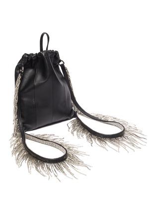 Detail View - Click To Enlarge - KARA - Glass crystal fringe leather drawstring backpack