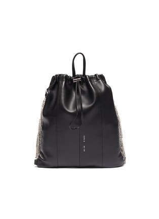 Main View - Click To Enlarge - KARA - Glass crystal fringe leather drawstring backpack