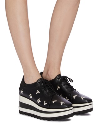 Figure View - Click To Enlarge - STELLA MCCARTNEY - 'Flat Elyse' alphabet embroidered faux leather platform Derbies