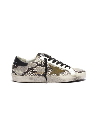 Main View - Click To Enlarge - GOLDEN GOOSE - 'Superstar' snake embossed leather sneakers