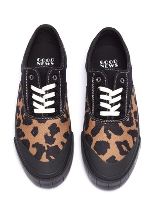 Detail View - Click To Enlarge - GOOD NEWS - 'Softball 2' cotton panel leopard print wool sneakers