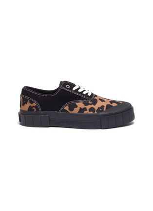 Main View - Click To Enlarge - GOOD NEWS - 'Softball 2' cotton panel leopard print wool sneakers