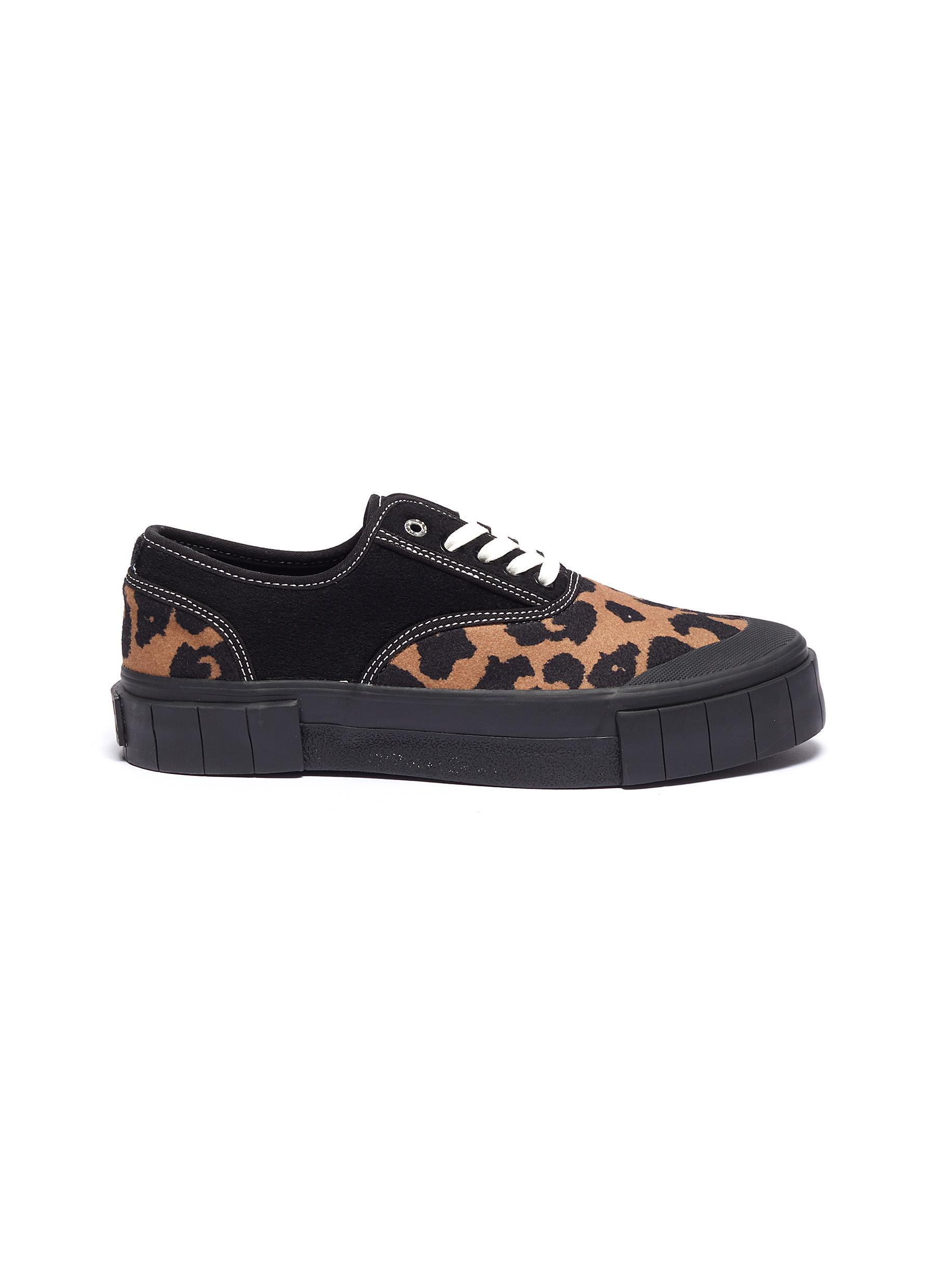 Softball 2 cotton panel leopard print wool sneakers by Good News
