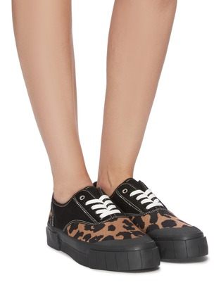 Figure View - Click To Enlarge - GOOD NEWS - 'Softball 2' cotton panel leopard print wool sneakers
