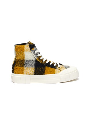 Main View - Click To Enlarge - GOOD NEWS - 'Softball 2' checkered wool high top sneakers