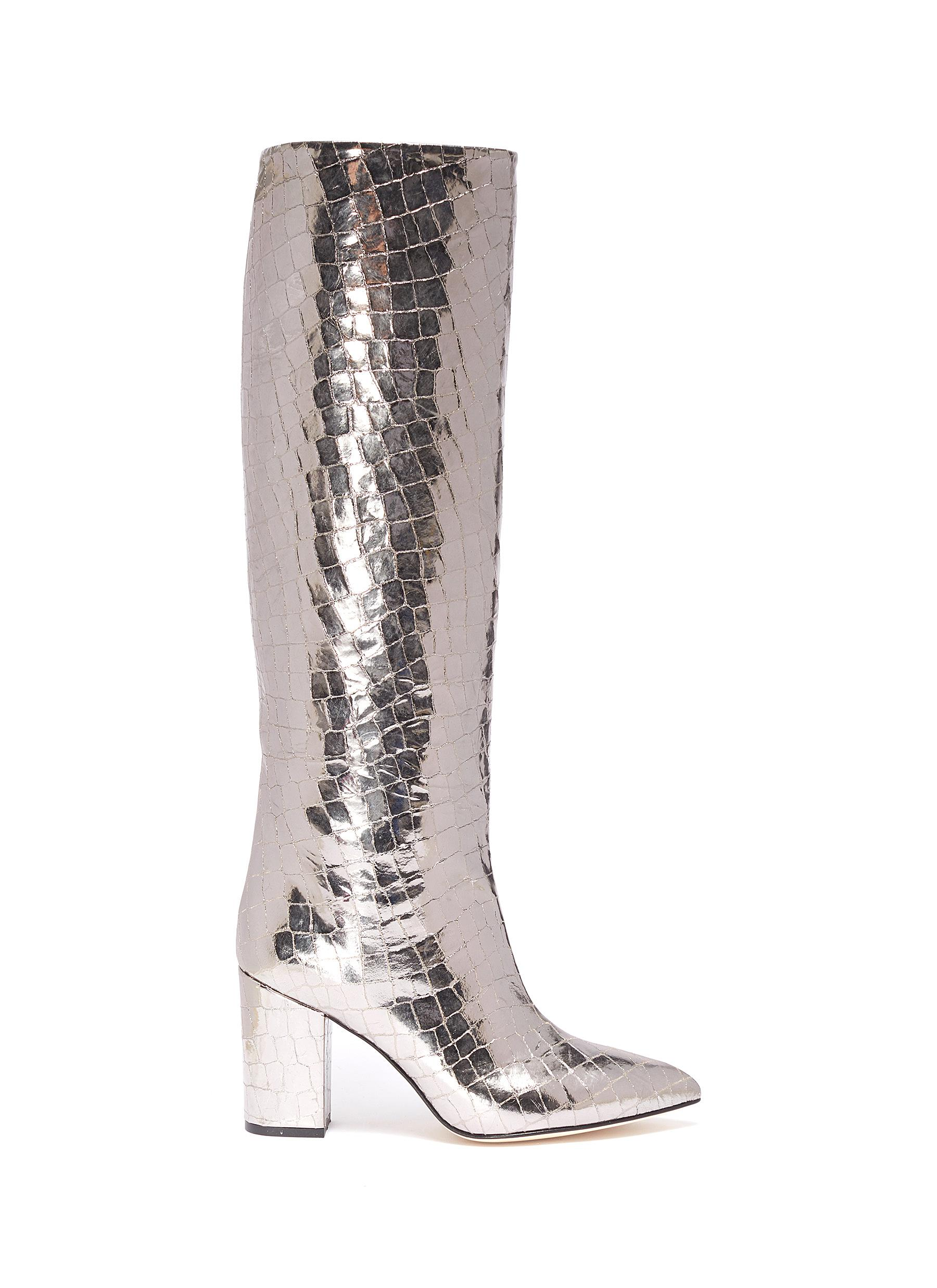 Mirror croc embossed leather knee high boots by Paris Texas