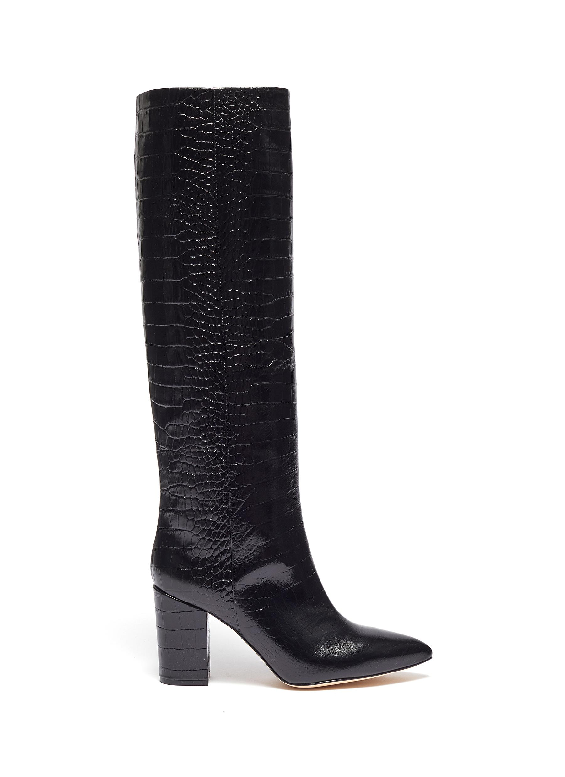 Croc embossed leather knee high boots by Paris Texas