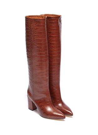 Detail View - Click To Enlarge - PARIS TEXAS - Croc embossed leather knee high boots