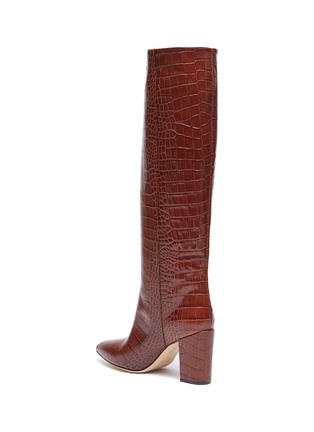 - PARIS TEXAS - Croc embossed leather knee high boots