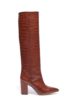 Main View - Click To Enlarge - PARIS TEXAS - Croc embossed leather knee high boots