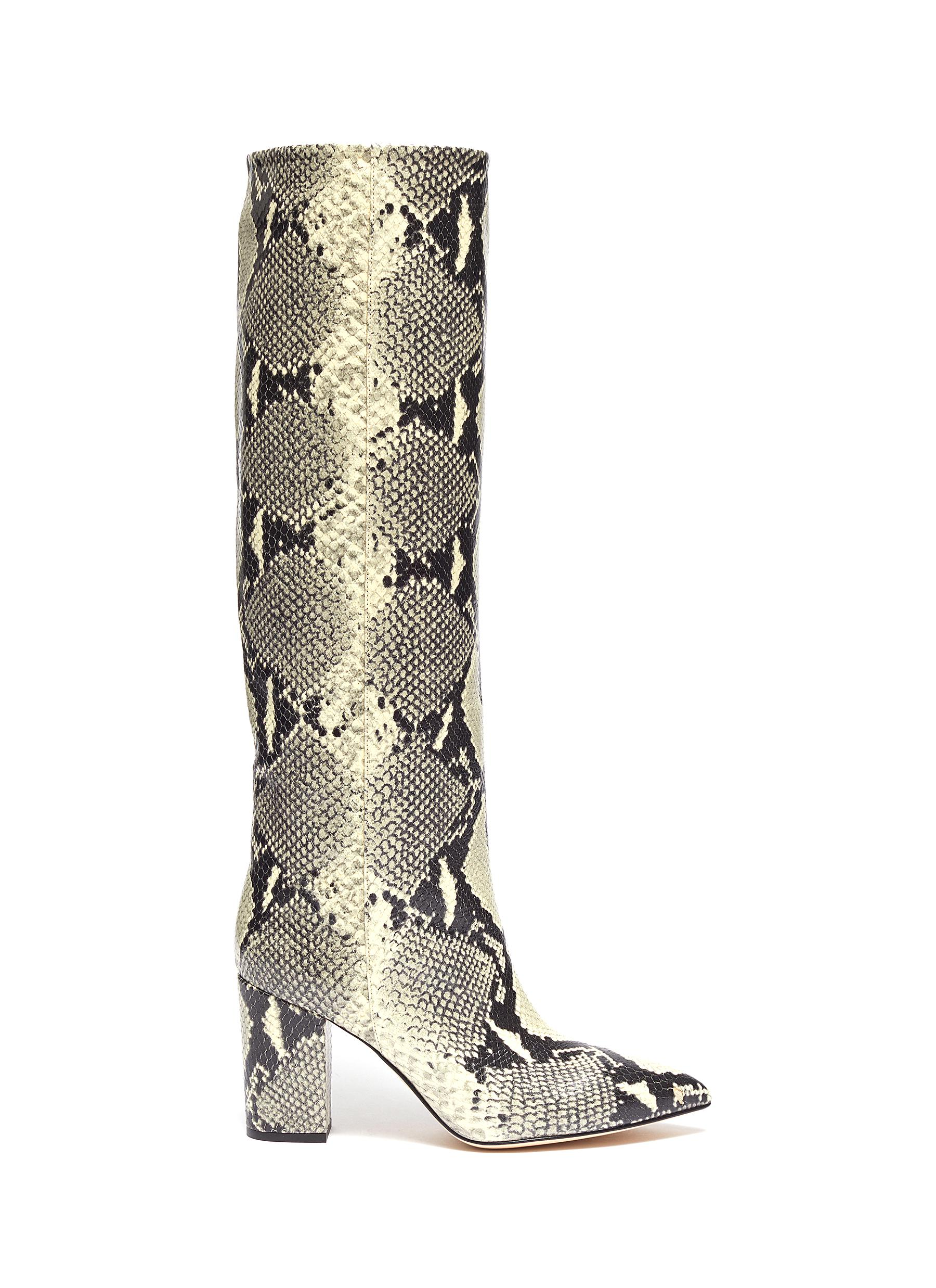 Snake embossed leather knee high boots by Paris Texas