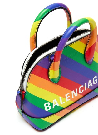 Detail View - Click To Enlarge - BALENCIAGA - 'Ville XXS AJ' logo print rainbow stripe leather top handle bag