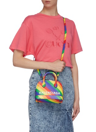 Front View - Click To Enlarge - BALENCIAGA - 'Ville XXS AJ' logo print rainbow stripe leather top handle bag