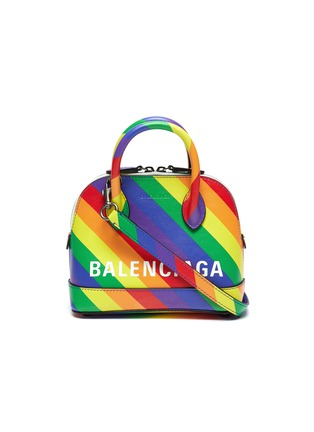 Main View - Click To Enlarge - BALENCIAGA - 'Ville XXS AJ' logo print rainbow stripe leather top handle bag